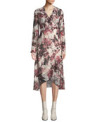 Iro Garden Surplice Long-Sleeve Printed Wrap Dress