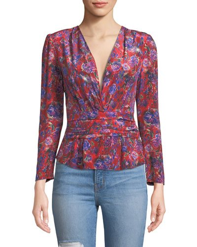 Hurl V-Neck Long-Sleeve Floral-Print Silk Top