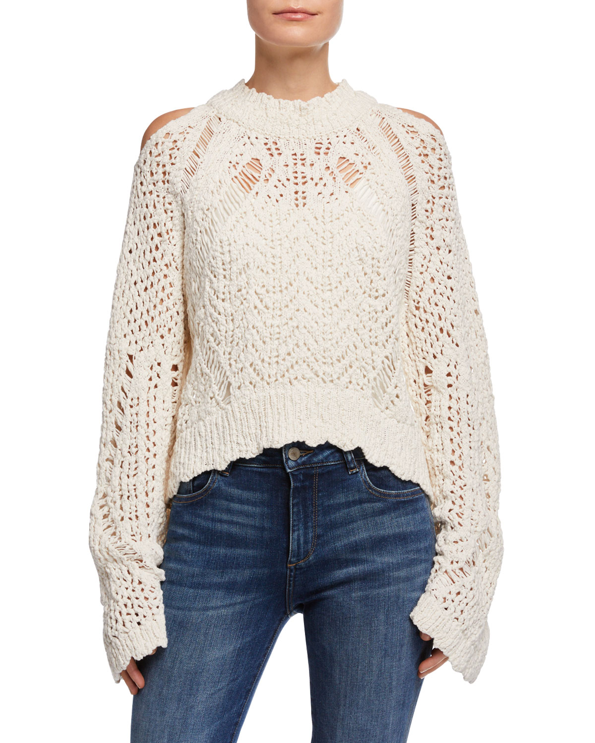 Unctuous Crochet Cold-Shoulder Sweater in Off White