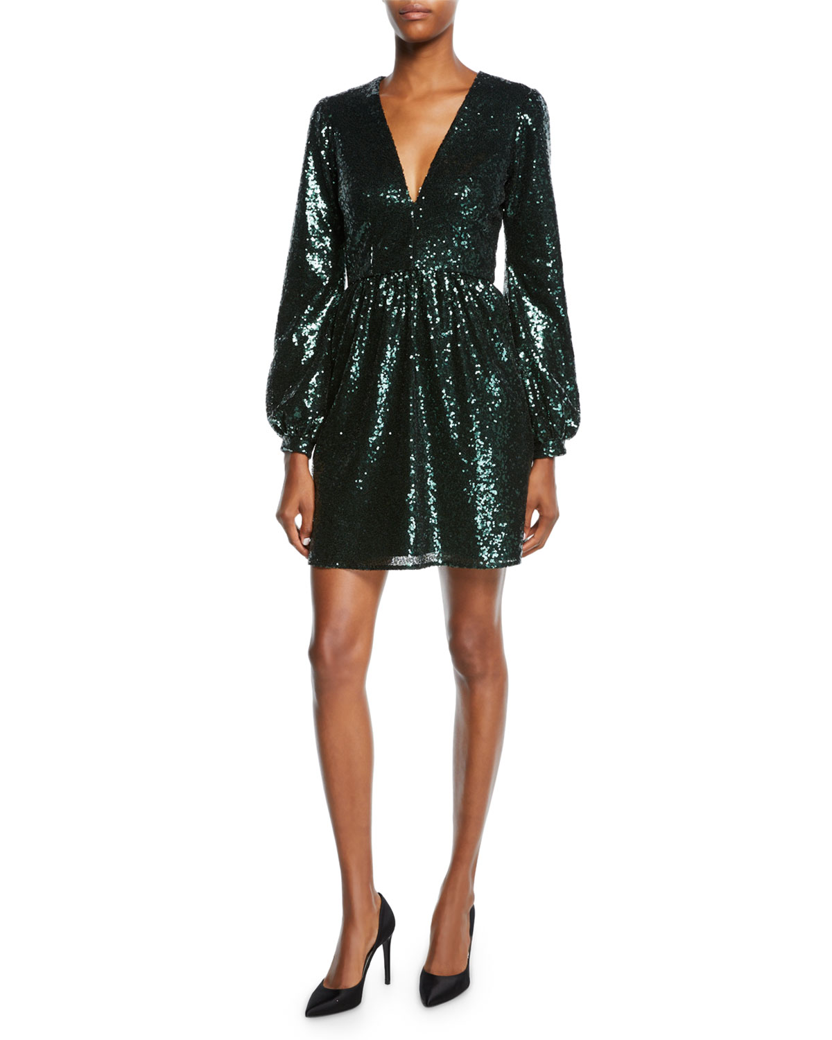 SALONI Camille Sequined Long-Sleeve Cocktail Dress in Green