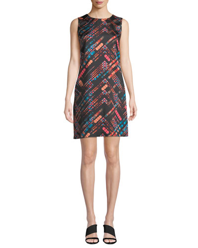 Short Silky Printed Shift Dress