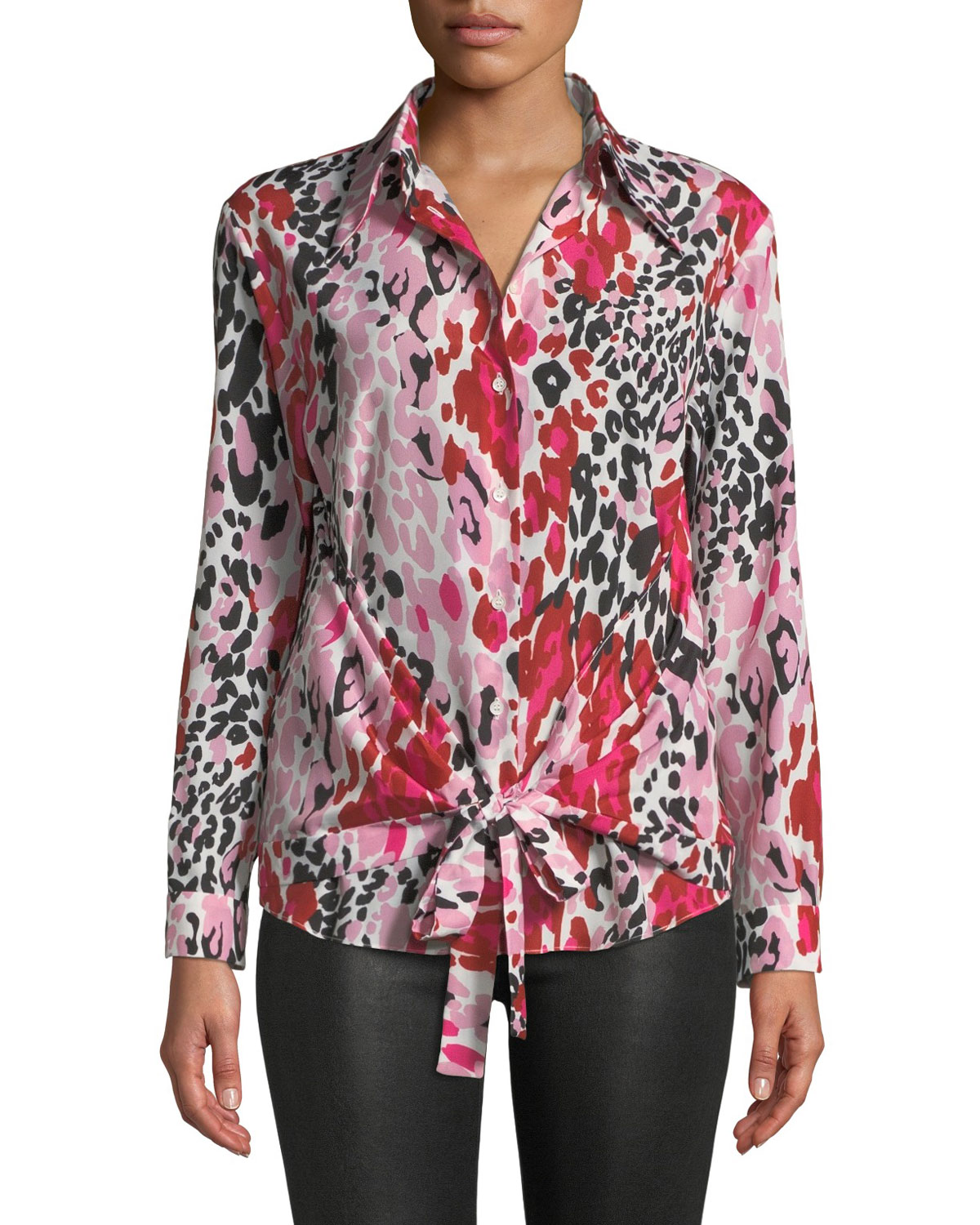 Long-Sleeve Animal-Print Wrap Blouse
