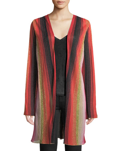 Metallic-Stripe Long-Sleeve Cardigan