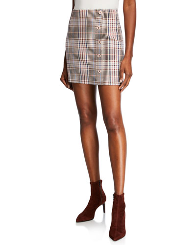 c6e126616 Quick Look. Veronica Beard · Filter Plaid Mini Skirt with Button Detail