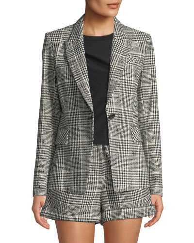 Rhett Plaid Single-Button Dickey Jacket