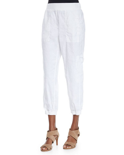 Plus Size Cargo Linen-Blend Ankle Pants