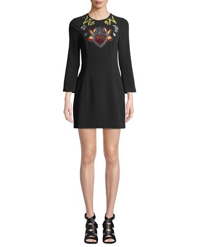 Josephine Embroidered Crepe Short Dress