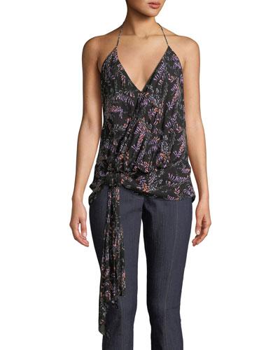 Kimya Tie-Front Floral Halter Top