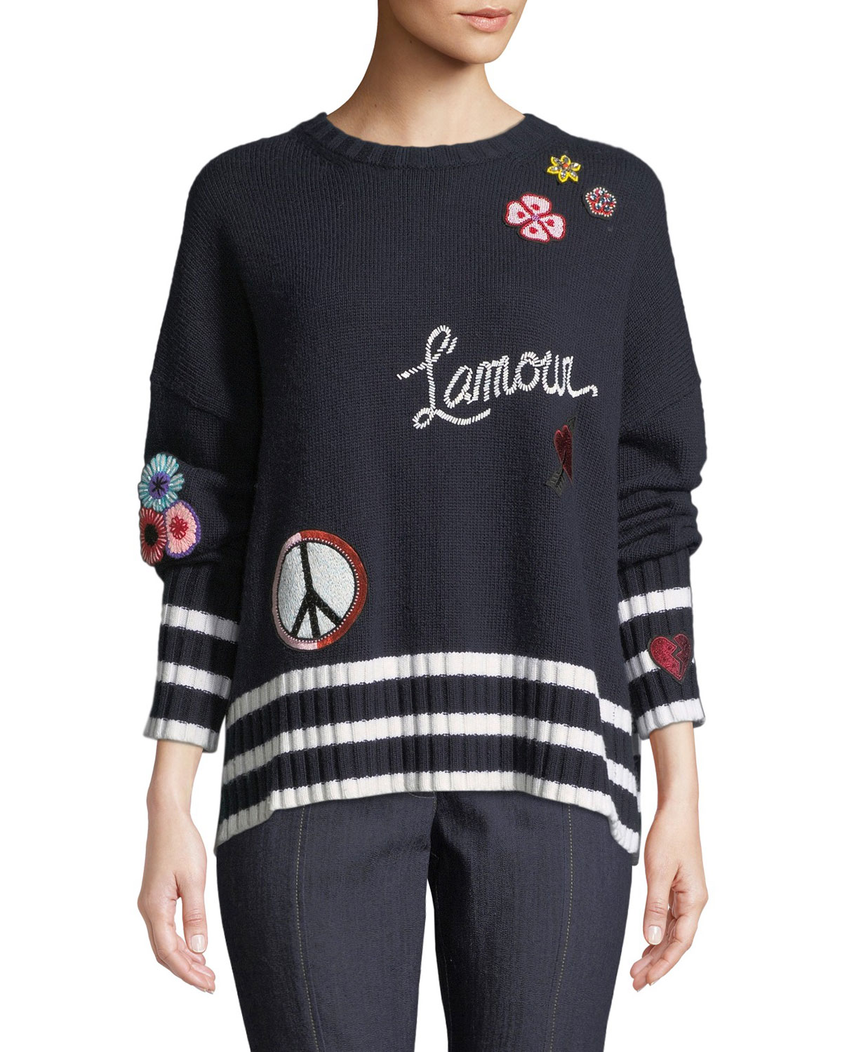Leona Embroidered Graphic Pullover Sweater in Navy
