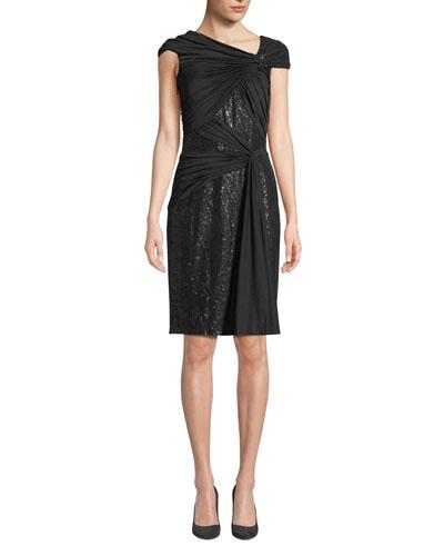 Asymmetric Pintuck & Lace Dress
