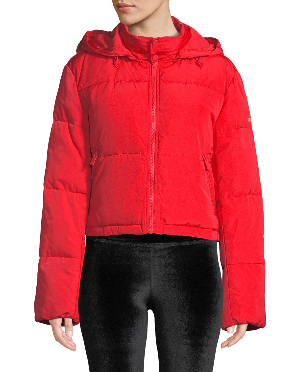 ALO YOGA Introspective Quilted Cropped Jacket in Red