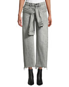 alexanderwang.t Stack Tie-Front Wide-Leg Cropped Jeans