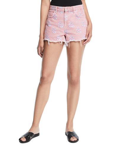 Bite Star-Print Cutoff Denim Shorts
