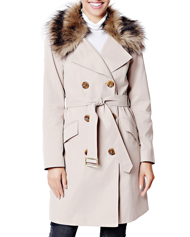 FABULOUS FURS Essential Faux Fur-Collar Trench Coat in Brown