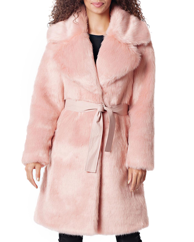FABULOUS FURS Diva Faux-Fur Coat W/ Belt in Pink