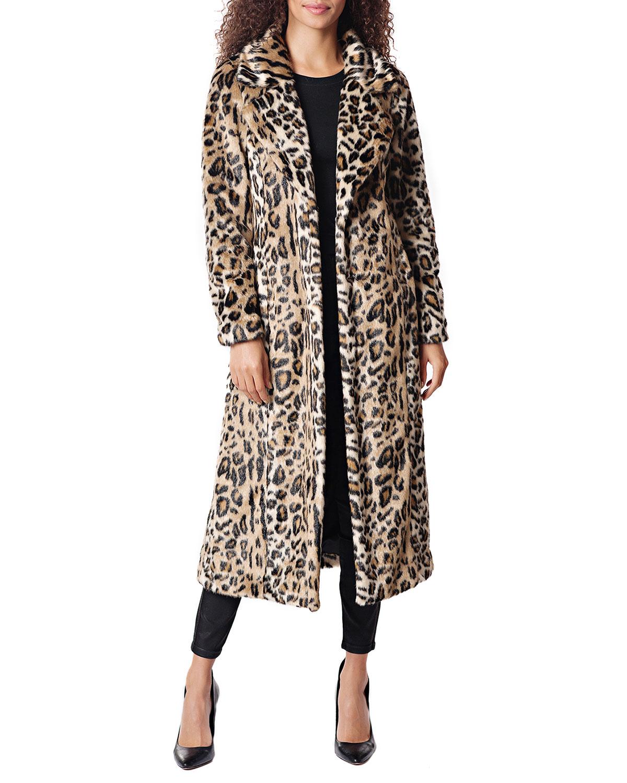 FABULOUS FURS Maven Leopard Faux Fur Maxi Coat in Multi Pattern