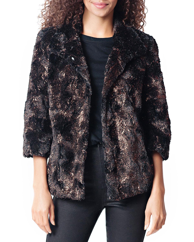 FABULOUS FURS Gilded Faux Fur Jacket in Bronze