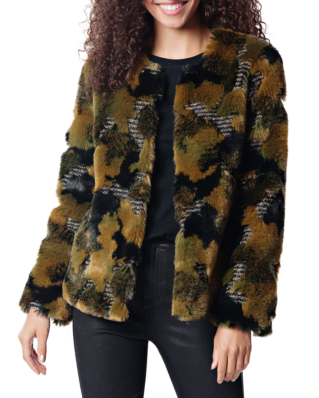 FABULOUS FURS Camo Faux Fur Cocktail Coat in Multi Pattern