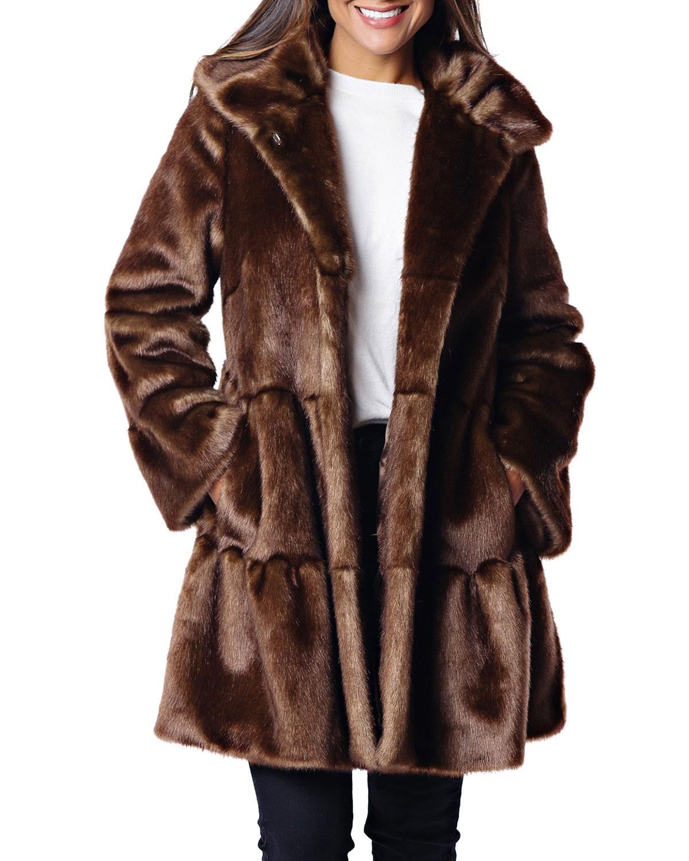FABULOUS FURS Faux Fur Tiered Swing Coat in Copper Mink