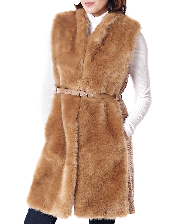 FABULOUS FURS Polished Faux Fur & Knit Vest in Camel