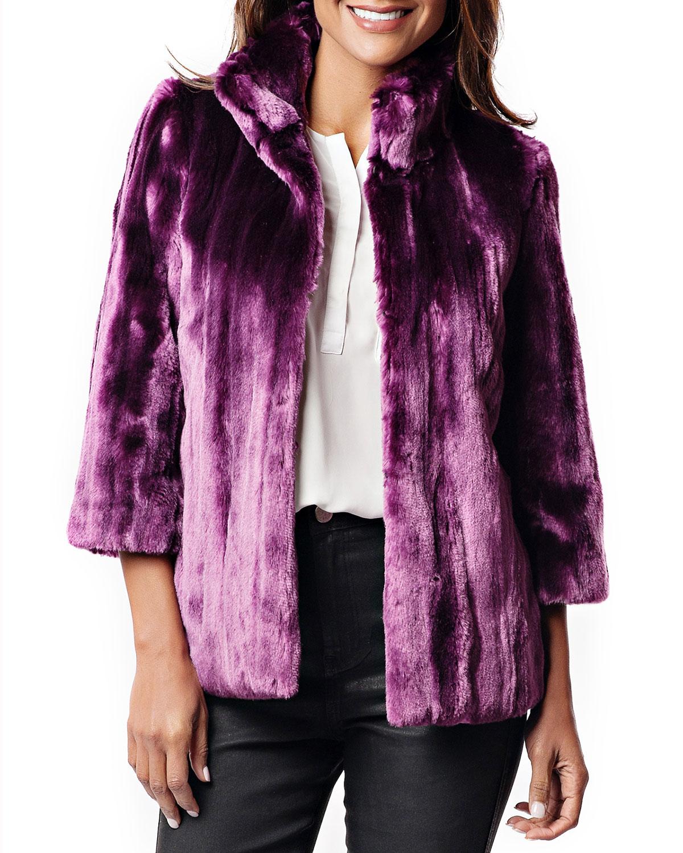 FABULOUS FURS Ultraviolet Faux Fur Evening Coat in Purple