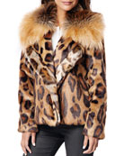 Fabulous Furs Downtown Leopard Faux Fur Coat