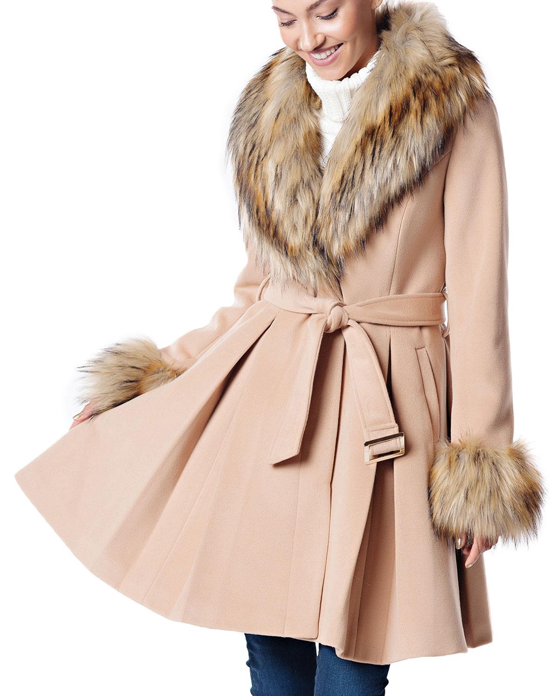 FABULOUS FURS Fashion Flair Pleated Coat W/ Faux Fur in Camel