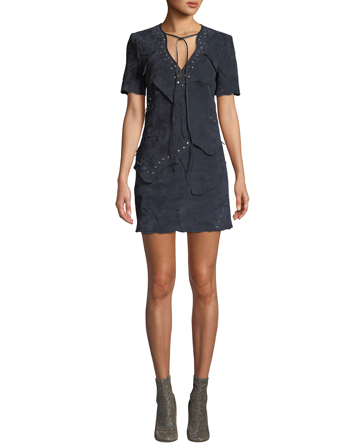 Studded Patchwork Suede Short Dress in Navy