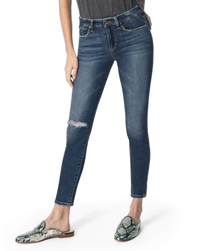 The Icon Mid-Rise Distressed Ankle Skinny Jeans