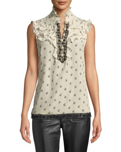 d537157e312fa5 Quick Look. Coach · Lily-Print Victorian Silk Ruffle Top