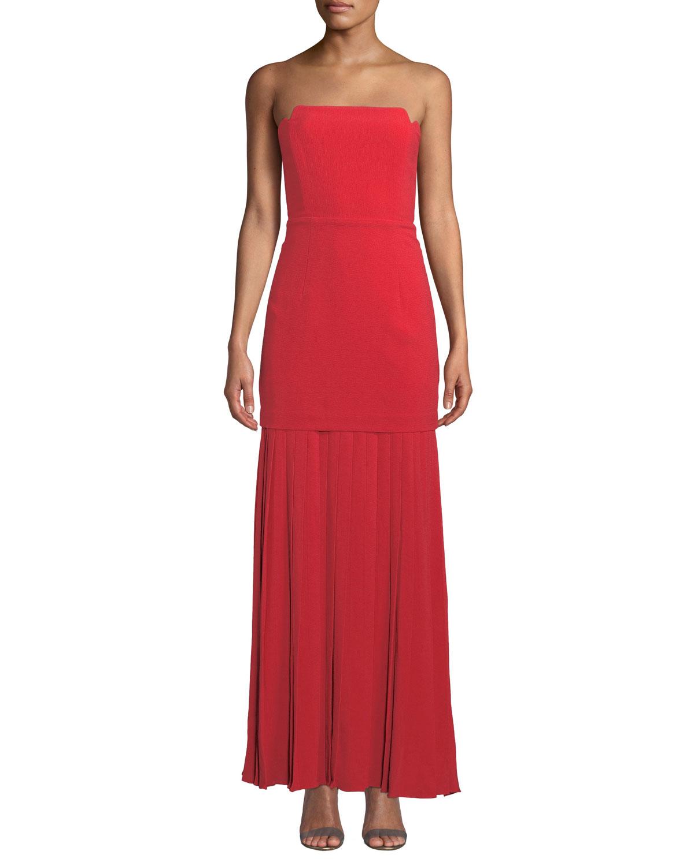 AIJEK Vida Strapless Pleated Bustier Maxi Dress in Red