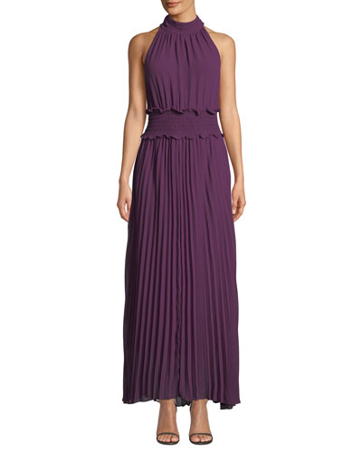 Vida Pleated Halter Maxi Dress