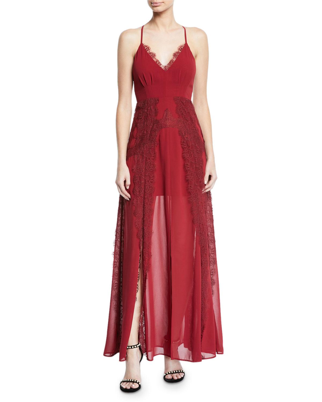 AIJEK Lavinia Chiffon & Lace Maxi Dress in Plum