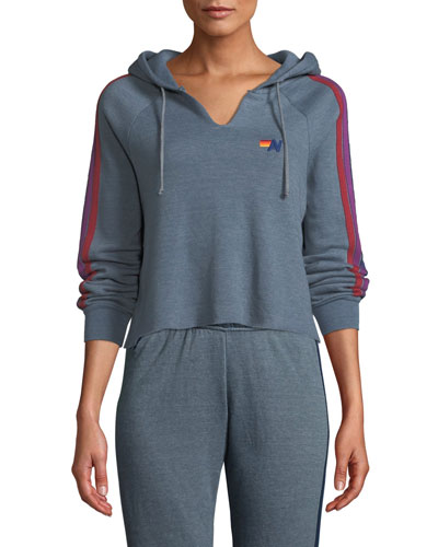 Split-Neck Cropped Pullover Hoodie