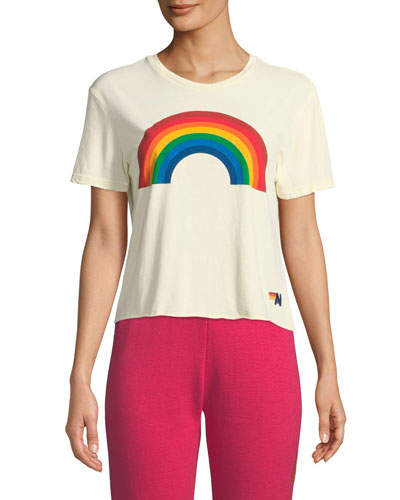 Rainbow Cropped Boyfriend Tee