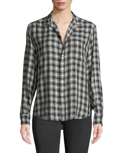 Eileen Long-Sleeve Plaid Button-Front Shirt