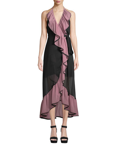 Domanik Ruffle Halter Chiffon Wrap Dress