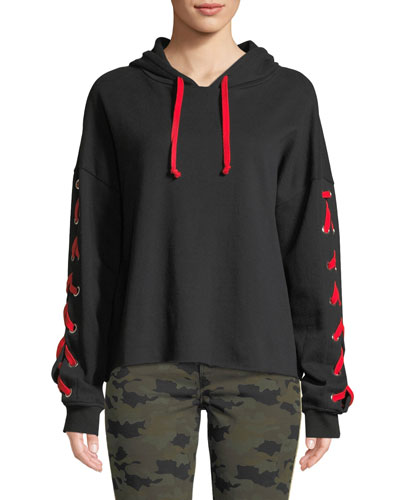Lindsay Lace-Up Pullover Hoodie