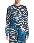 No Ka Oi Nola Zebra-Print Cropped Sweatshirt and
