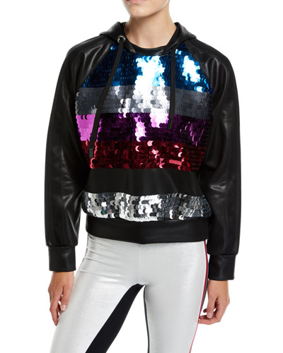 Palale Sequin Faux-Leather Cropped Hoodie
