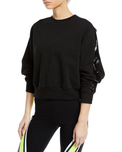 Ike Cropped Side-Stripe Pullover Sweatshirt