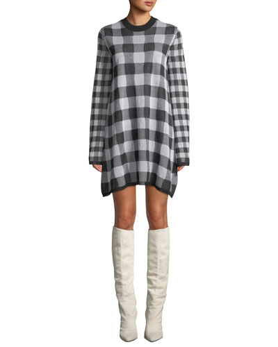 Checkerboard Long-Sleeve Sweater Dress