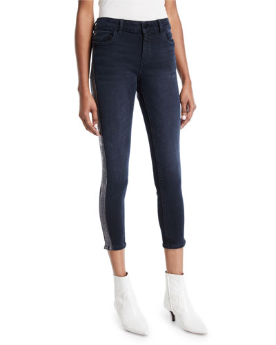 Florence Cropped Mid-Rise Skinny Jeans with Side-Stripes