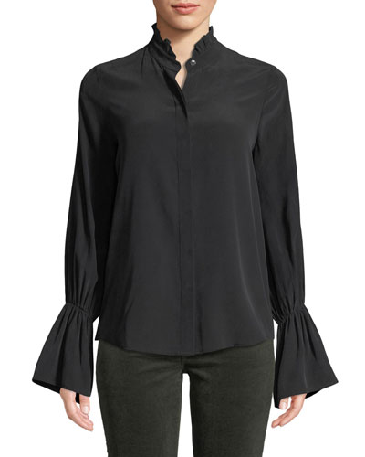 Leyla Ruffle-Collar Silk Bell-Sleeve Blouse