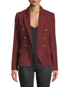 L'Agence Kenzie Double-Breasted Jacquard Blazer and Matching