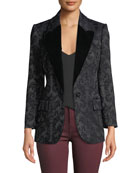 L'Agence Neval Jacquard Suiting Blazer with Contrast Lapels