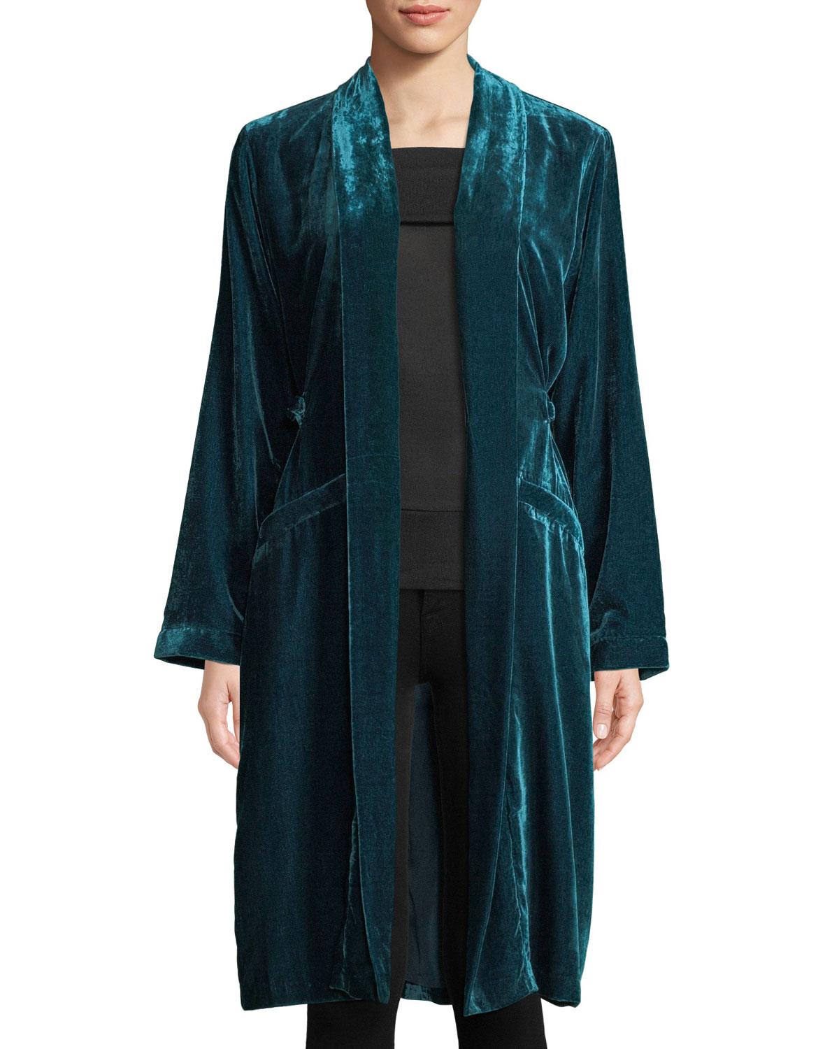 Albany Velvet Duster Jacket in Green