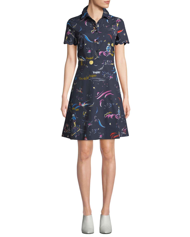 Daydream Short-Sleeve Shirtdress in Navy Daydream