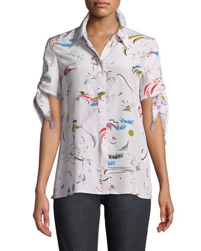 64915b41e81b09 Quick Look. Tory Burch · Daydream Tie-Sleeve Silk Shirt