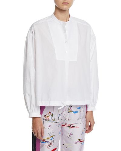 Bib-Front Drawstring-Hem Poplin Shirt